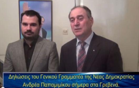 Γρεβενά: Δηλώσεις του Γ.Γ. της Νέας Δημοκρατίας Ανδρέα Παπαμιμίκου (video)