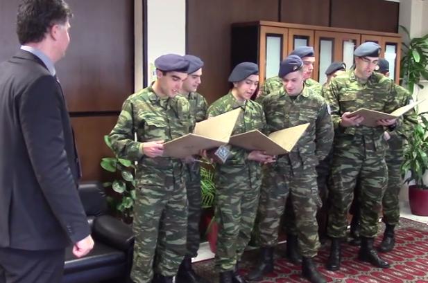 Ο Σύλλογος Ελευθέρου Γρεβενών και ο στρατός είπαν τα κάλαντα στον αντιπεριφερειάρχη Γρεβενών κ. Βαγγέλη Σημανδράκο