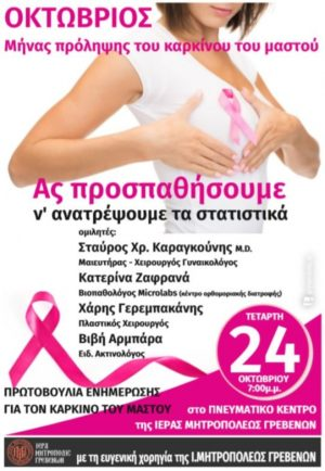Τετάρτη 24 Οκτωβρίου: Ενημερωτική Ομιλία για την Πρόληψη κατά του καρκίνου του Μαστού