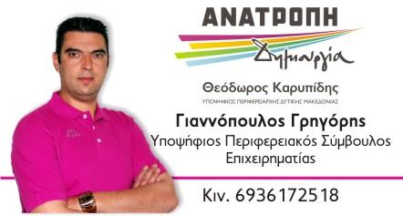 Ανακοίνωση Υποψηφιότητας του Γρηγόρη Γιαννόπουλου
