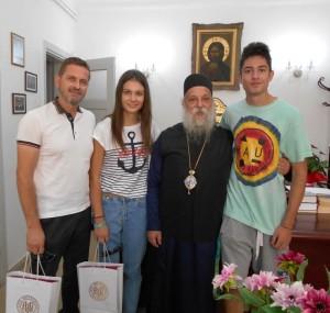 Συνάντηση του Μητροπολίτη Γρεβενών κ. Δαβίδ με τους αθλητές του στίβου Μιλτιάδη Τεντόγλου και  Ελένη Κουτσαλιάρη