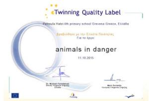 """2ο Βραβείο στο 4ο Δ.Σ. Γρεβενών για το etwinning έργο μας """"animals in danger"""" (=ζώα υπό εξαφάνιση)"""