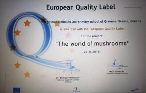"""2ο 6/θ Ολοήμερο Δημοτικό Σχολείο Γρεβενών: Βραβείο """"Ευρωπαϊκή Ετικέτα Ποιότητας"""""""