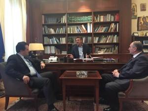 Σήμερα το απόγευμα ο Δήμαρχος Γρεβενών κ. Γιώργος Δασταμάνης υποδέχτηκε στο Δημαρχείο τον Αντιπρόεδρο της Νέας Δημοκρατίας κο Άδωνη Γεωργιάδη