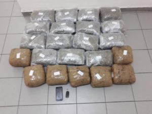 Σύλληψη 30χρονου αλλοδαπού για εισαγωγή, διακίνηση και κατοχή μεγάλης ποσότητας ακατέργαστης κάνναβης, βάρους -23- κιλών και -134- γραμμαρίων, σε περιοχή της Φλώρινας