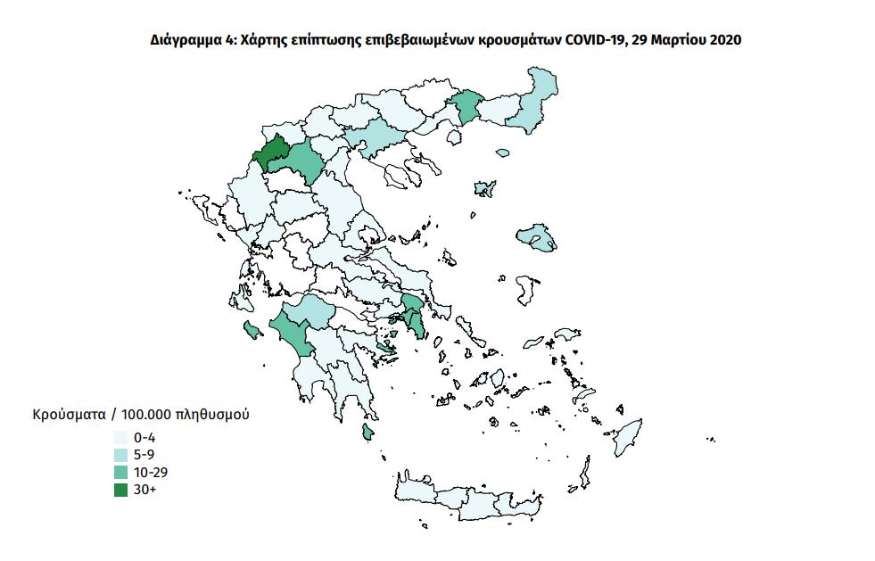Ο νέος χάρτης της πανδημίας στην Ελλάδα- Ποιες περιοχές έχουν κρούσματα και ποιες έμειναν αλώβητες