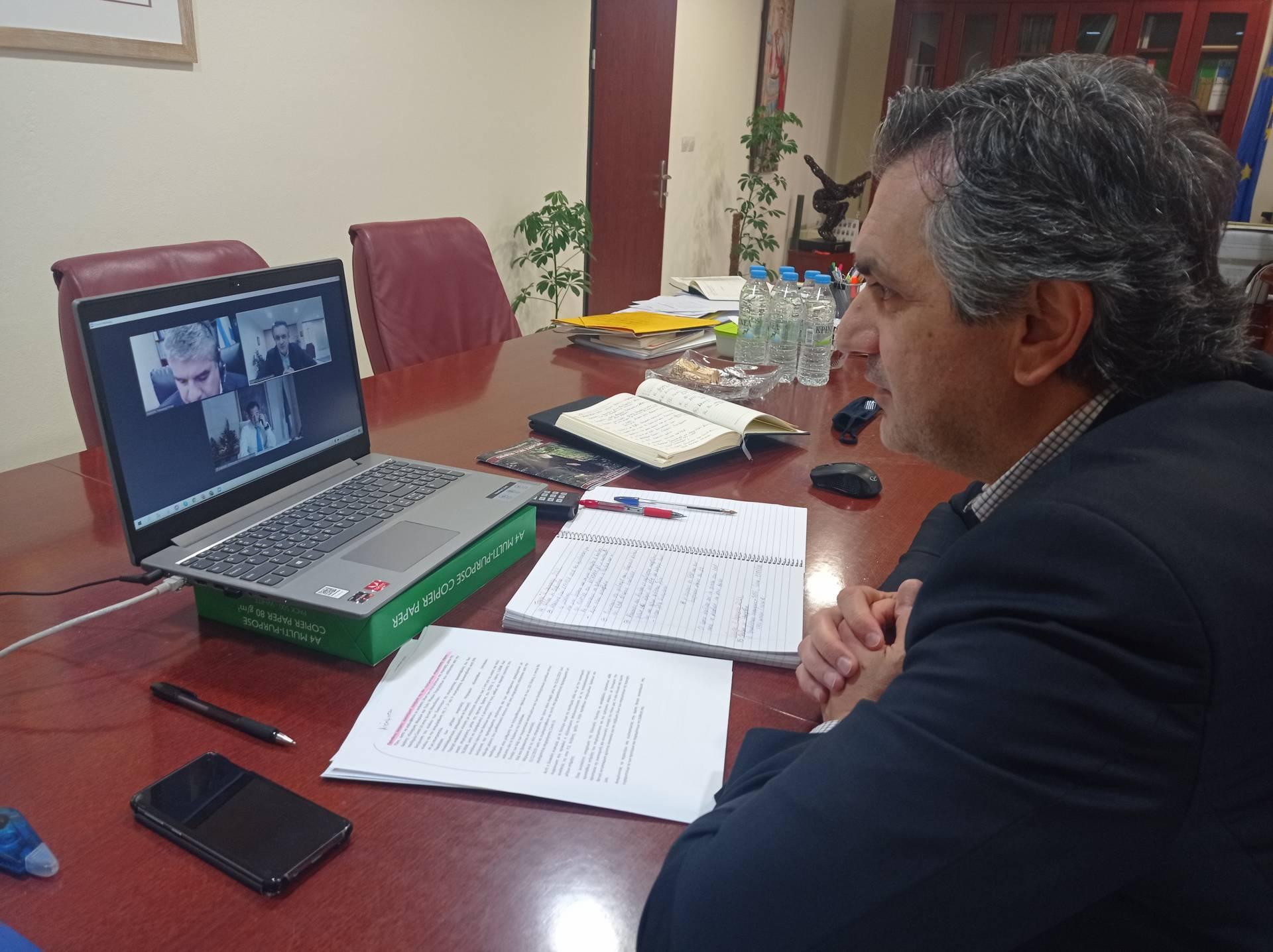 Τηλεδιάσκεψη του Περιφερειάρχη Δυτ. Μακεδονίας κ.Κασαπίδη με τον Υπουργό Ανάπτυξης και Επενδύσεων